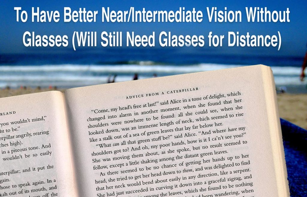 Vision Goal - To have better near/intermediate vision without glasses (Will still need glasses for distance)